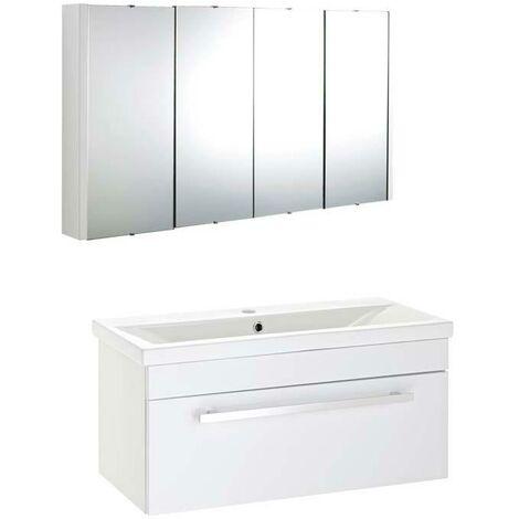 VeeBath Sobek 1000mm Vanity Basin Unit Toilet Wall Mirror Cabinet Bathroom Set