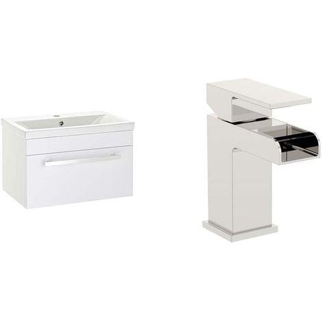 VeeBath Sobek 600mm Gloss White Vanity Sink Unit & Waterfall Basin Mixer Tap