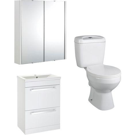VeeBath Sobek 600mm Vanity Basin Unit Toilet Wall Mirror Cabinet Bathroom Suite