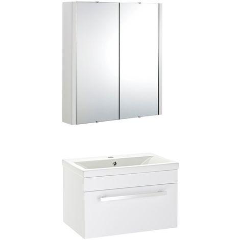 VeeBath Sobek 600mm Wall Hung White Vanity Unit & Mirror Cabinet Bathroom Set
