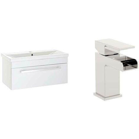 VeeBath Sobek 700mm Gloss White Vanity Sink Unit & Waterfall Basin Mixer Tap
