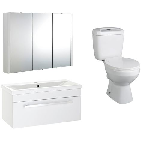 VeeBath Sobek 700mm Vanity Basin Unit Toilet Wall Mirror Cabinet Bathroom Suite