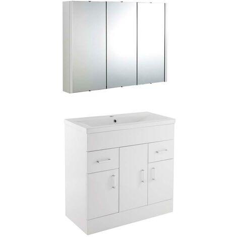 VeeBath Sobek 800mm Floor Standing Vanity Unit & Mirror Cabinet Bathroom Set