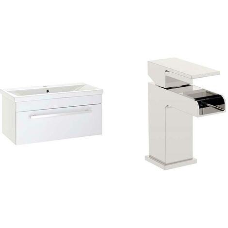VeeBath Sobek 800mm Gloss White Vanity Sink Unit & Waterfall Basin Mixer Tap