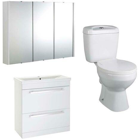 VeeBath Sobek 800mm Vanity Basin Unit Toilet Wall Mirror Cabinet Bathroom Suite