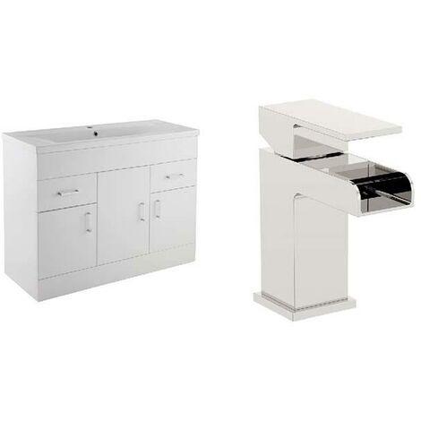 VeeBath Sobek White 1000mm Gloss White Vanity Sink Unit & Waterfall Basin Mixer