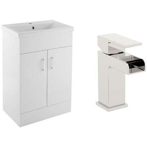VeeBath Sobek White 700mm Gloss White Vanity Sink Unit & Waterfall Basin Mixer