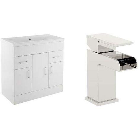 VeeBath Sobek White 800mm Gloss White Vanity Sink Unit & Waterfall Basin Mixer