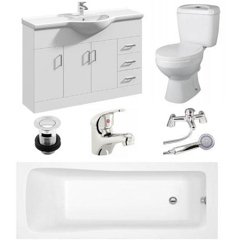 VeeBath Sophia 1700mm Bath Vanity Basin Unit Toilet & Mixer Taps Bathroom Suite