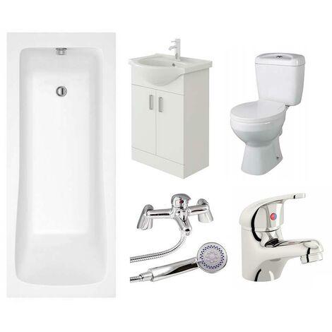 VeeBath Sophia 1800mm Bath Vanity Basin Unit Toilet & Mixer Taps Bathroom Suite