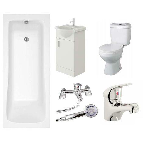 VeeBath Sophia Single Ended Bath Toilet Vanity & Taps Bathroom Suite - 1800mm