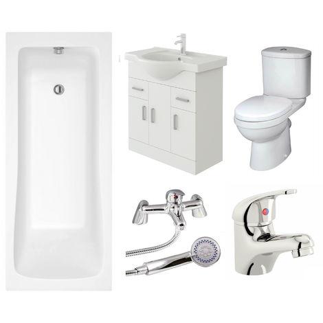 VeeBath Sophia Vanity Unit, Toilet & Single Ended Bath Bathroom Suite - 1700mm
