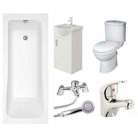 VeeBath Sophia Vanity Unit, Toilet & Single Ended Bath Bathroom Suite - 1800mm