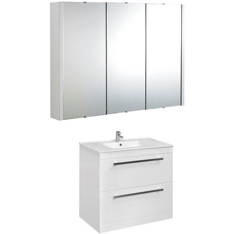 VeeBath Sphinx 1000mm Floor Standing Vanity Unit & Mirror Cabinet Bathroom Set