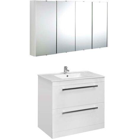 VeeBath Sphinx 1000mm Floor Standing Vanity Unit & Mirror Cabinet Bathroom Set