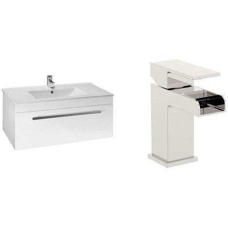 VeeBath Sphinx 1000mm Gloss White Vanity Sink Unit & Waterfall Basin Mixer Tap