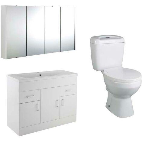 VeeBath Sphinx 1000mm Vanity Basin Unit Toilet Wall Mirror Cabinet Bathroom Set