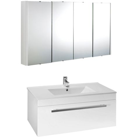 VeeBath Sphinx 1000mm Wall Hung White Vanity Unit & Mirror Cabinet Bathroom Set