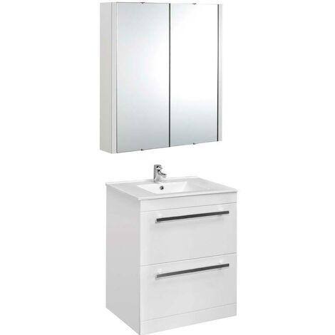 VeeBath Sphinx 600mm Floor Standing Vanity Unit & Mirror Cabinet Bathroom Set