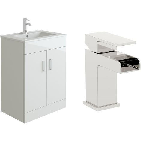 VeeBath Sphinx 600mm Gloss White Vanity Sink Unit & Waterfall Basin Mixer Tap