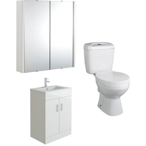 VeeBath Sphinx 600mm Vanity Basin Unit Toilet Wall Mirror Cabinet Bathroom Suite