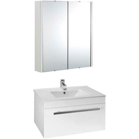 VeeBath Sphinx 600mm Wall Hung White Vanity Unit & Mirror Cabinet Bathroom Set