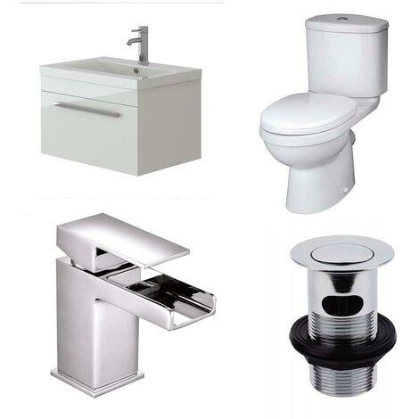 VeeBath Sphinx 600mm Wall Vanity Basin Unit, Sleek Close Coupled Toilet & Tap