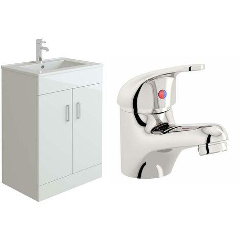 VeeBath Sphinx 600mm White Gloss Vanity Sink Unit & Mono Chrome Basin Mixer Tap