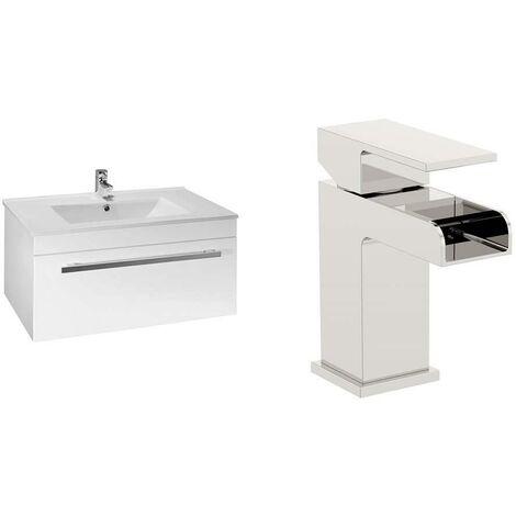 VeeBath Sphinx 700mm Gloss White Vanity Sink Unit & Waterfall Basin Mixer Tap