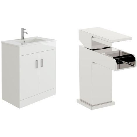 VeeBath Sphinx 700mm Gloss White Vanity Sink Unit & Waterfall Basin Mixer Tap