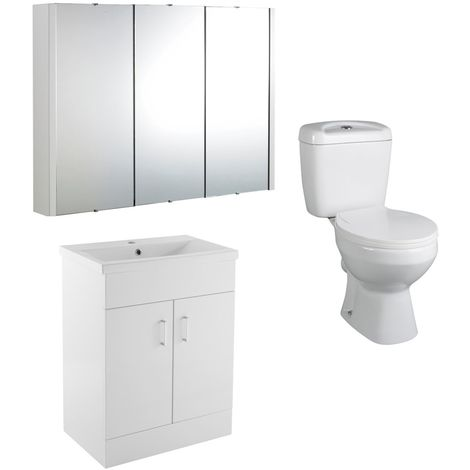 VeeBath Sphinx 700mm Vanity Basin Unit Toilet Wall Mirror Cabinet Bathroom Suite