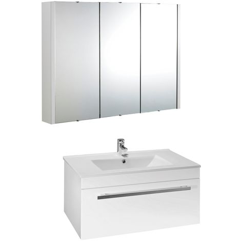 VeeBath Sphinx 700mm Wall Hung White Vanity Unit & Mirror Cabinet Bathroom Set
