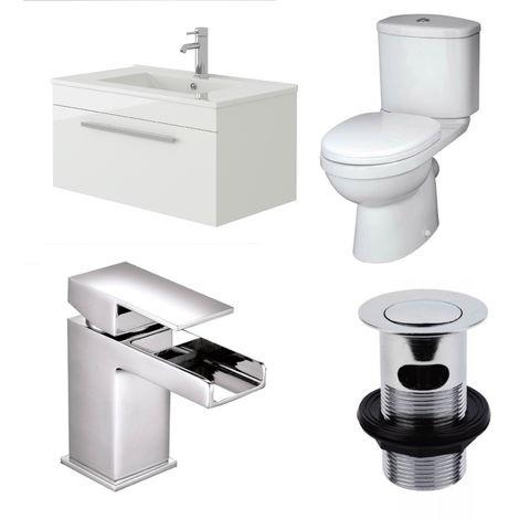 VeeBath Sphinx 700mm Wall Vanity Basin Unit, Sleek Close Coupled Toilet & Tap