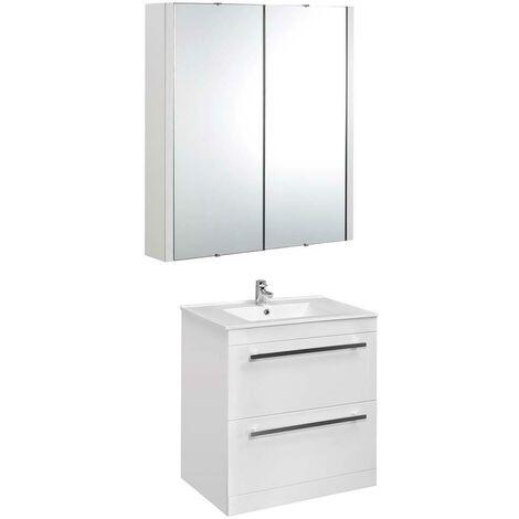 VeeBath Sphinx 800mm Floor Standing Vanity Unit & Mirror Cabinet Bathroom Set