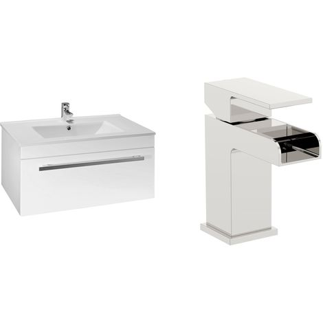 VeeBath Sphinx 800mm Gloss White Vanity Sink Unit & Waterfall Basin Mixer Tap