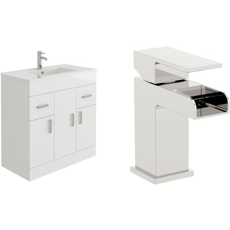 VeeBath Sphinx 800mm Gloss White Vanity Sink Unit & Waterfall Basin Mixer Tap