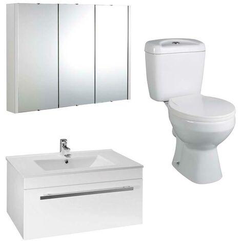 VeeBath Sphinx 800mm Vanity Basin Unit Toilet Wall Mirror Cabinet Bathroom Suite