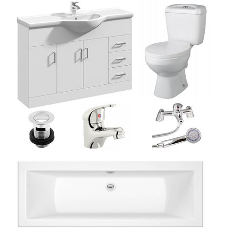 VeeBath Umbro 1700mm Bath Vanity Basin Unit Toilet & Mixer Taps Bathroom Suite