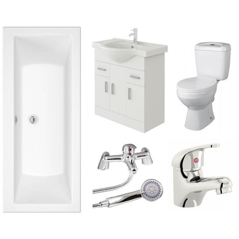 VeeBath Umbro 1800mm Bath Vanity Basin Unit Toilet & Mixer Taps Bathroom Suite