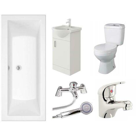 VeeBath Umbro Single Ended Bath Toilet Vanity & Taps Bathroom Suite - 1700mm