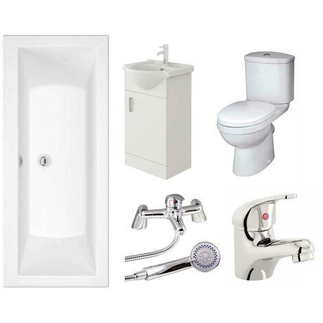 VeeBath Umbro Vanity Unit, Toilet & Single Ended Bath Bathroom Suite - 1700mm