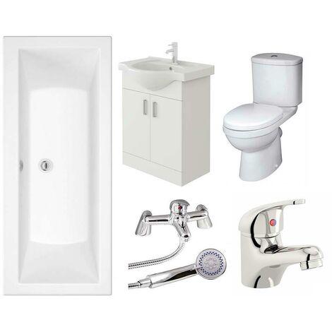 VeeBath Umbro Vanity Unit, Toilet & Single Ended Bath Bathroom Suite - 1800mm