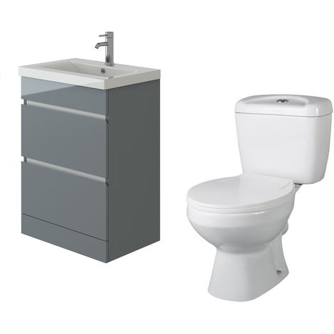 VeeBath Vega Floor Standing Grey Vanity Basin Cabinet Unit & Base Toilet Set