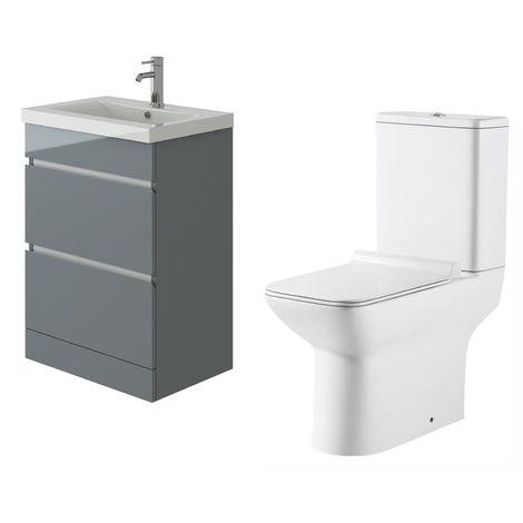 VeeBath Vega Floor Standing Grey Vanity Basin Cabinet Unit & Geneve Toilet Set