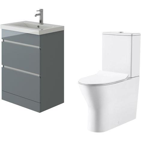 VeeBath Vega Floor Standing Grey Vanity Basin Cabinet Unit & Milan Toilet Set