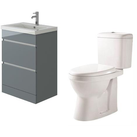 VeeBath Vega Floor Standing Grey Vanity Basin Cabinet Unit & Verona Toilet Set