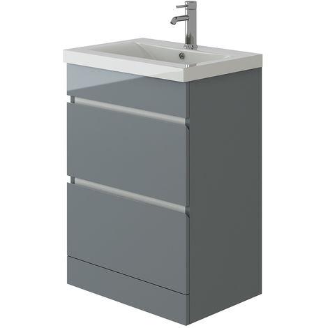 VeeBath Vega Light Grey Vanity Basin Cabinet Bathroom Furniture Unit - 600mm