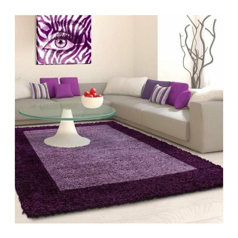 VEGA Tapis de salon Shaggy - 80 x 150 cm - Violet