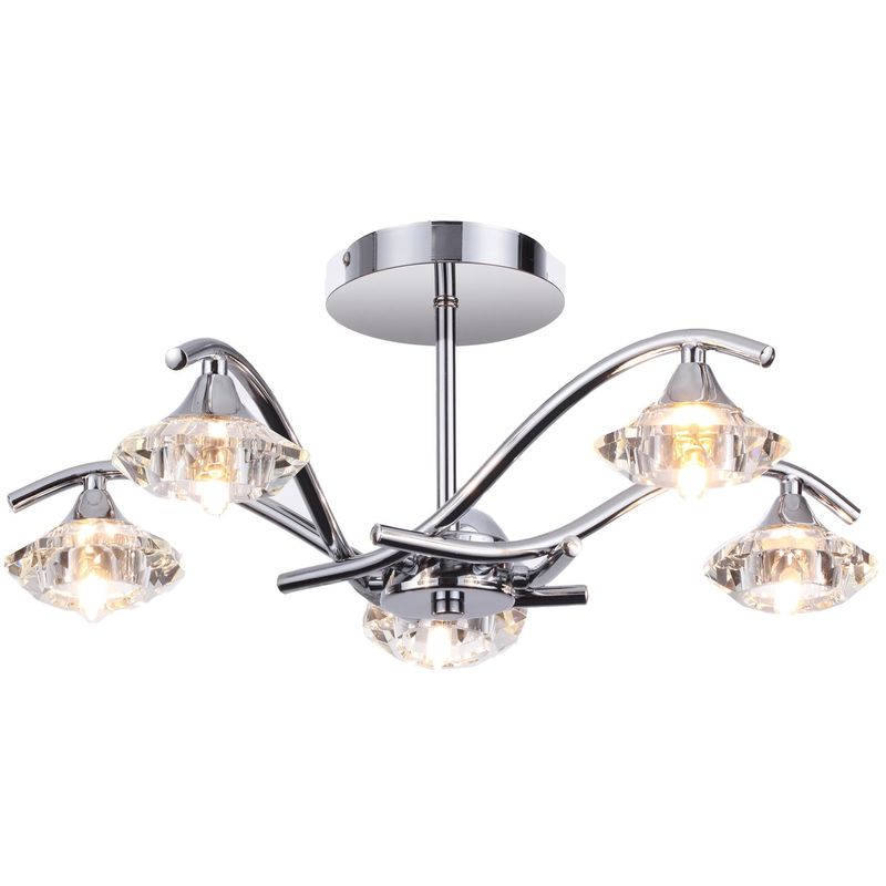 Image of 09-082 Vegas Modern 5 Light Chrome / Crystal Semi Flush Ceiling Light