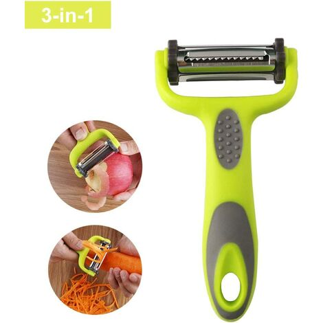 Vegetable and Fruit Peeler, Julienne Peeler, 3 in 1 Multifunction Rotary Peeler, 3 Stainless Steel Blades: Serrated, Straight, Julienne. Comfortable Non-Slip Handle - Green